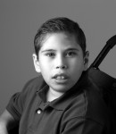 Young boy in wheelchair (in black and white)