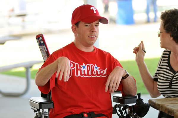 Phillies Fan looks at the camera