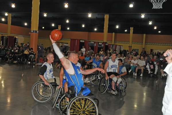 Action shot of a game of wheelchair basketball