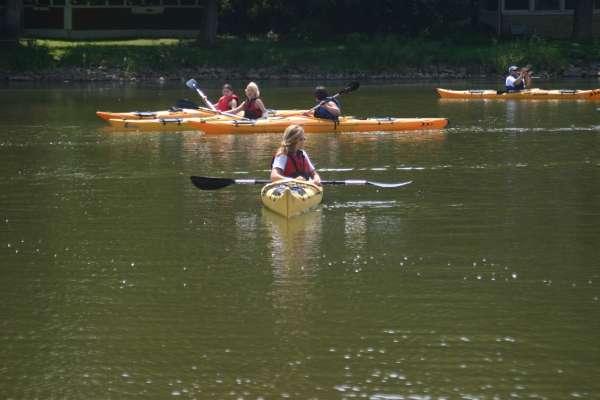 Image of people kayaking in a lake
