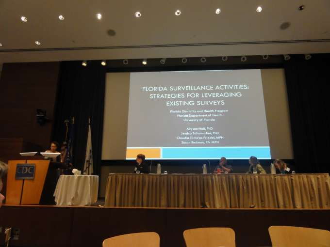 Image of CDC meeting presentation and slide on Florida's surveillance activities