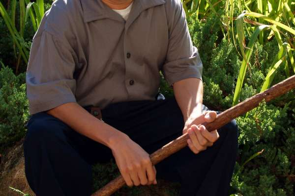 Visually Impaired gentleman holding his cane